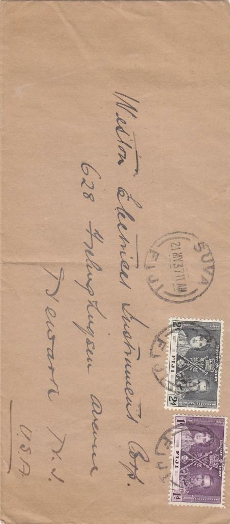 1937, Suva, Fiji to Newark, NJ, #10 (40982)