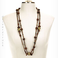 Mng By Mango Brown Wood & Brass Beads & Accents Long Necklace