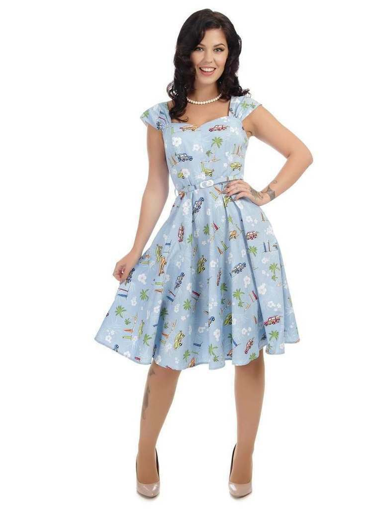 Collectif Sandra Vintage Cars Belted bluee Swing Dress