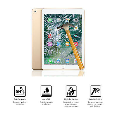 """100% Vero Protector De Cristal Vidrio Templado Tablet Apple Nuevo Ipad 9.7"""" (2017) 5ª Gen. Pregevole Fattura"""