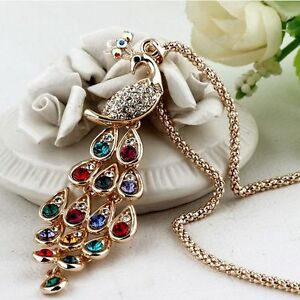 Trendy-Fashion-New-Peacock-Pendants-Necklaces-Colorful-Crystal-For-Women-Long