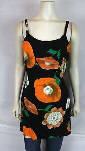 Bali-Girl-Brown-Orange-Floral-Beach-Cover-Tunic-Top-Women-039-s-Size-Medium-Large