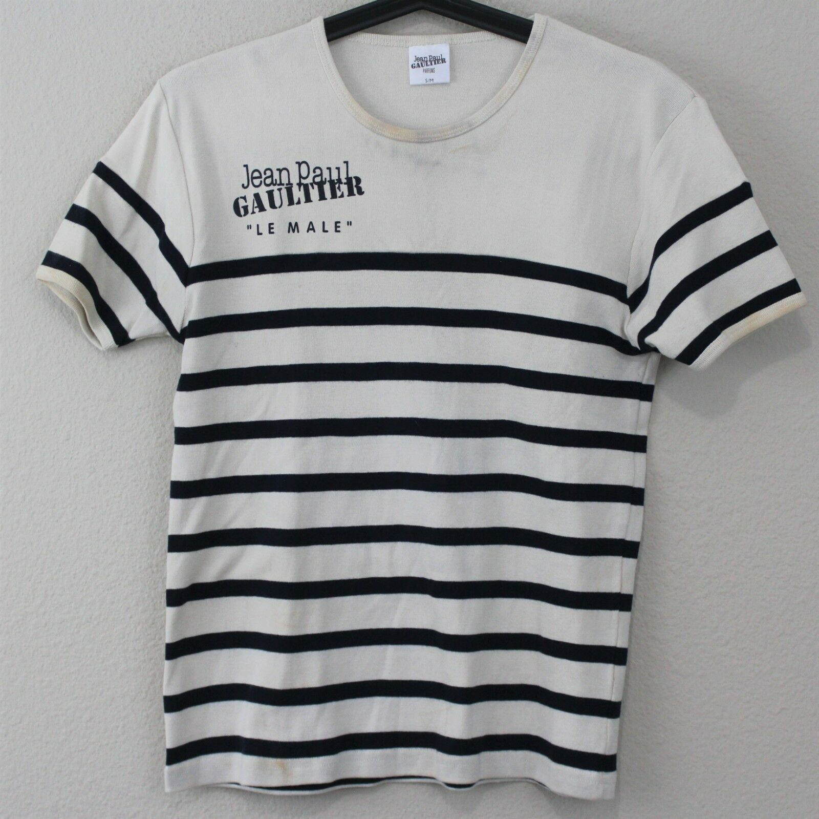 VTG Jean Paul Gaultier Womens Small   Medium Rare Spell Out Le Male T-Shirt A371