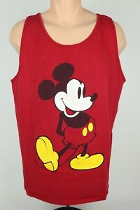 Vintage-Disney-Mickey-Mouse-Mens-XL-Red-Graphic-Sleeveless-Tank-Top-Shirt-USA