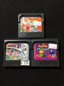 3 Sega Game Gear Lot Sonic The Hedgehog 2 Tom And Jerry Super