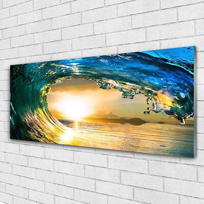 Glasbilder 100x50 Wandbild Druck auf Glas Welle Meer Sonnenuntergang Natur