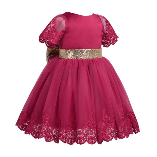 Baby Girls Flower Wedding Pageant Princess Bowknot Communion Formal Party Dress