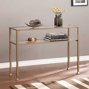 Image Is Loading JST37573 MATTE GRAYISH GOLD METAL GLASS CONSOLE TABLE