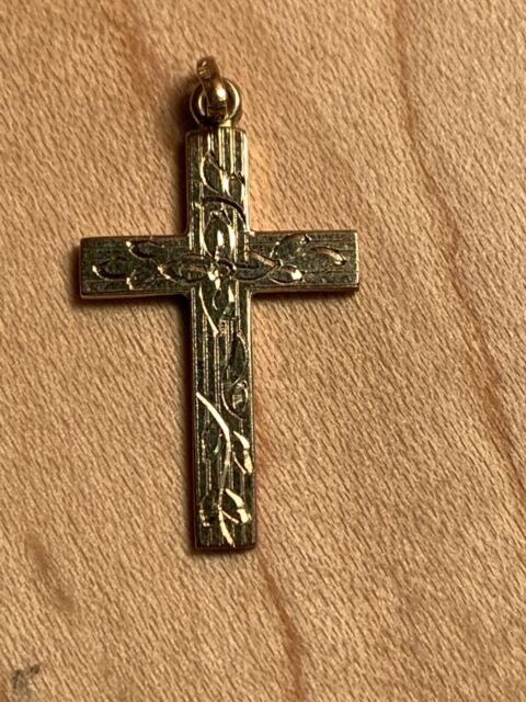 14k Yellow Gold Estate Flower Design Jerusalem Cross Religious Pendant