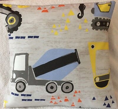"""Trucks and Diggers Cranes Handmade Cushion Cover matches Next bedding 16x16/"""""""