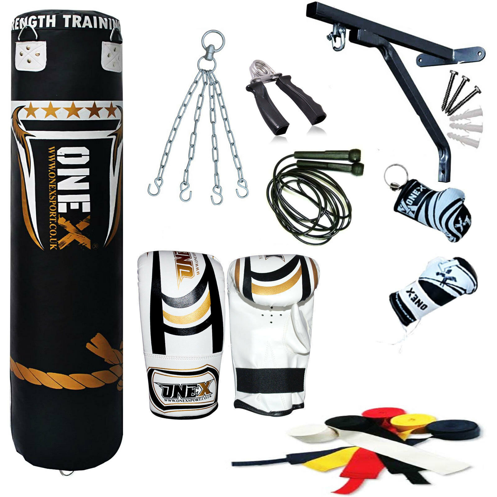 Onex Latest Filled 13 Piece 5ft heavy Filled Latest Boxing Punching Fitness Bag Set,Gloves c12a28