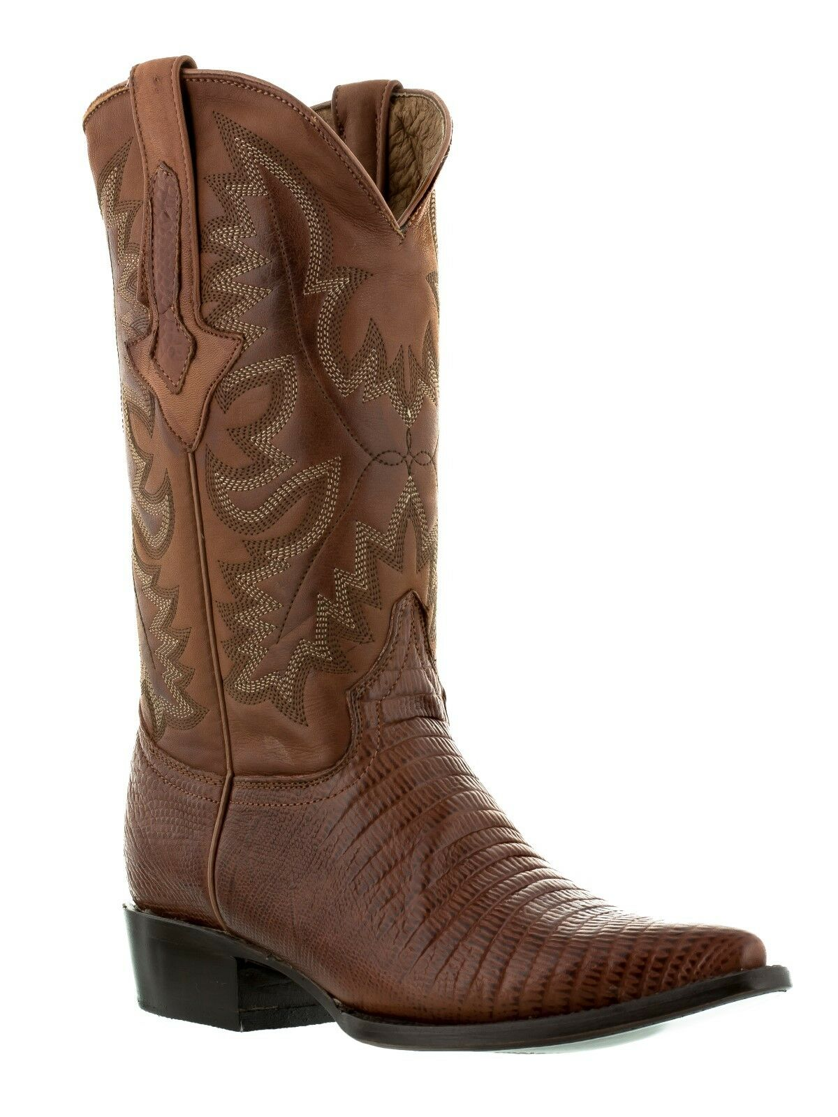 Mens Cognac Brown Lizard Design Western Cowboy Leather Boots Armadillo
