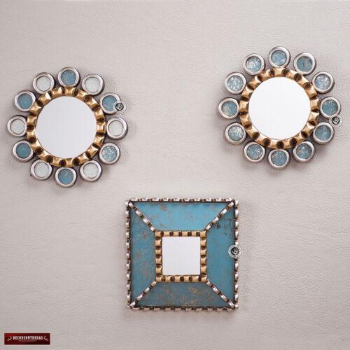 Sunburst miroir rond Set 3 du Pérou-décoratif turquoise Miroir Set Pour Mur