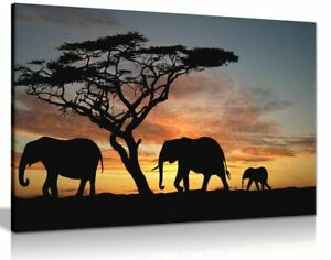 Elephants-In-The-Sunset-Africa-Landscape-Canvas-Wall-Art-Picture-Print