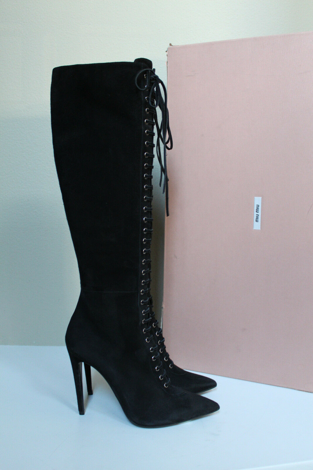 New sz 9   9.5 9.5 9.5 Miu Miu Black Suede Pointed toe Lace Up Tall Boot Heel shoes 97b15a