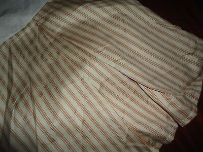 "RAYMOND WAITES RED CLAY & CREAM GOLD TICKING STRIPE QUEEN BEDSKIRT 18"" SPLIT"