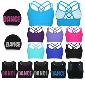 Girls-Dance-Bra-Top-Toddlers-Gymnastics-Workout-Sports-Vest-Tanks-Tops-Dancewear