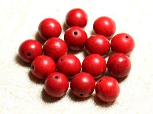 Perles de Pierre Turquoise Synthèse Reconstituée Boules 14mm Fil 39cm 26pc env