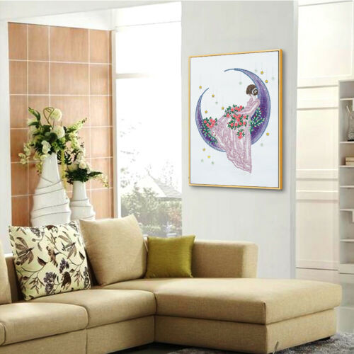 5D Special Shaped Diamond Painting Girl Moon DIY Embroidery Kit Crystal Art @