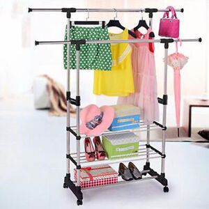 Adjustable Rolling Garment Rack Heavy Duty Clothes Hanger