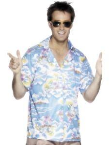 Mens Hawaiian Fancy Dress Shirt hawiin hawaiiin Palm Tree shirt Pink by Smiffys