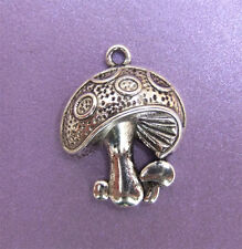 10 x Tibetan Style Antique Silver Coloured Toadstool Charm Beads - 22.5mm