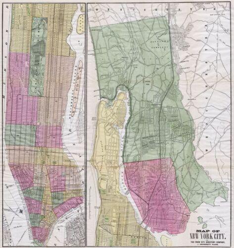 MAP ANTIQUE 1863 FISK RUSSELL NEW YORK CITY PLAN REPLICA POSTER PRINT PAM1811