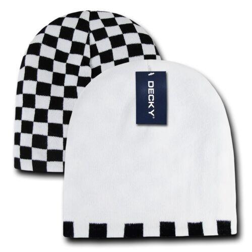 Decky Race Checkered Flag Reversible Beanies Ski Skull Caps Hats Winter
