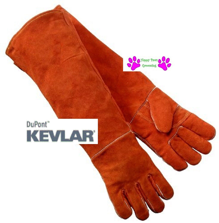 PAIR LONG 23 GAUNTLET LEATHER with Kevlar DOG CAT BIRD Animal Handling G s