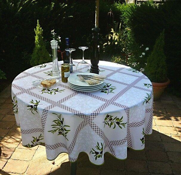 Nappe de Table Provence 180 cm Rond Olivenmotive Crème en France, Derniere