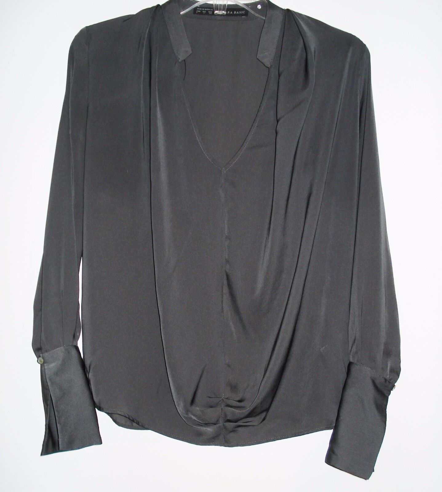 ZARA COLLECTION Dark Chocolate BLOUSE Long Sleeve TOP S