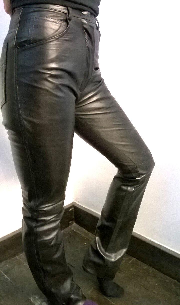 Cálculo Unisex London brillante Ciclismo De Cuero Genuino Rock Hipster Unisex Cálculo Negro Pantalones 551165
