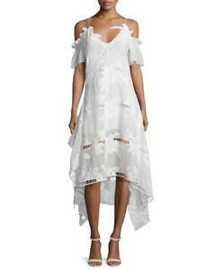 BNWT Self Portrait White Lace Floral Embroidered Off Shoulder Midi ... 39246afdb75d
