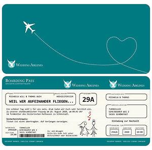 Einladung zur Hochzeit als Flugticket - Einladungskarte - Feier ...