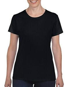 8b71fbf833c Black Gildan Heavy Cotton Ladies T Shirt Top Womens Girls Plain ...