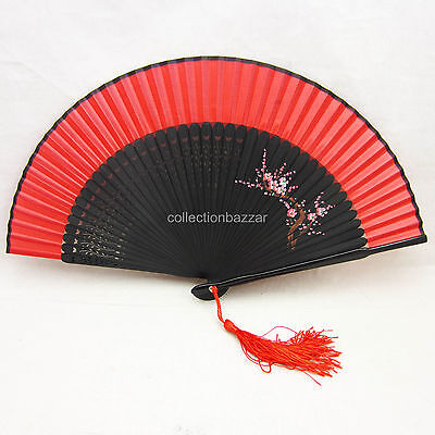 Chinese Bamboo Silk Plum Blossom HAND FAN for Wedding Christmas Gift /Collection