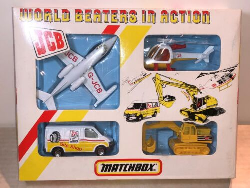 MATCHBOX G-3 JCB WORLD BEATERS IN ACTION 4 PIECE CONSTRUCTION GIFT SET 1987