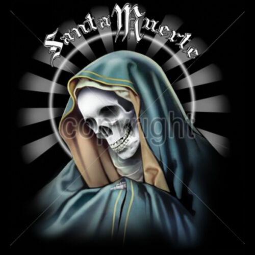 Men/'s La Santa Muerte Saint Death Gothic Graphic T-Shirt