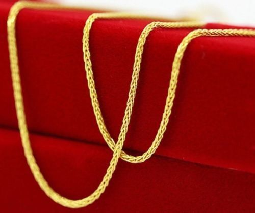 """New Pure Au750 18K Yellow Gold Necklace Perfect Wheat Chain Necklace1.7g  17.7/""""L"""