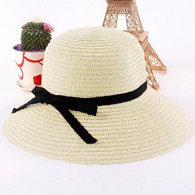 Fashion Women Wide Brim Beach Sun Hat Summer Straw Floppy Bohemia Cap Bowknot