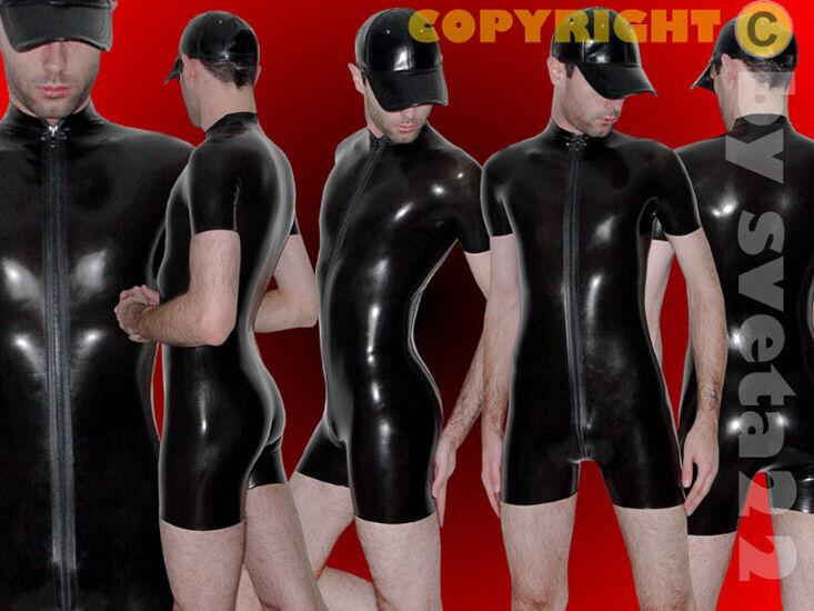 Latex Anzug (Kurzanzug) - - -  Rubber  kurzer Catsuit mit 3 WEGE-ZIPPER bis XXL e97a16