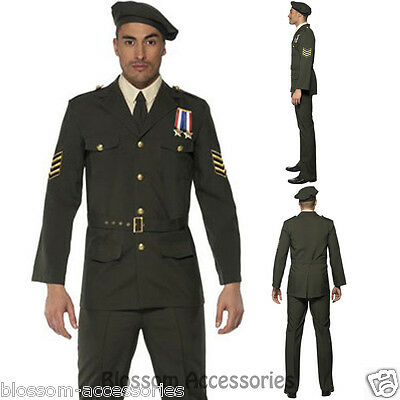 DESERT ARMY OFFICER HAT CAP US MILITARY Mens Fancy Dress Costume Accessory