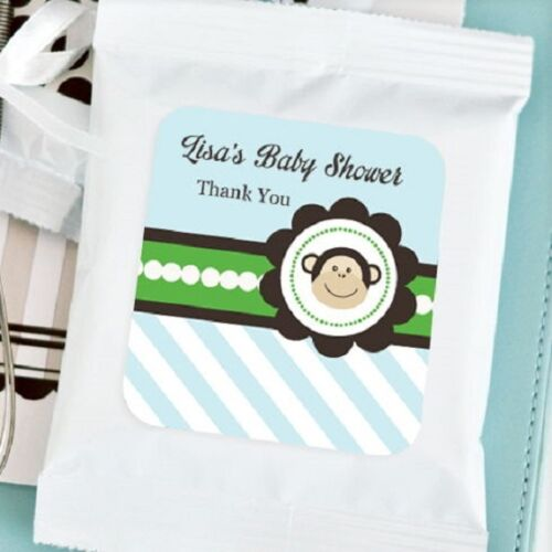 72 Personalized Blue Monkey Theme Hot Cocoa Mix Pouches Baby Shower Favors