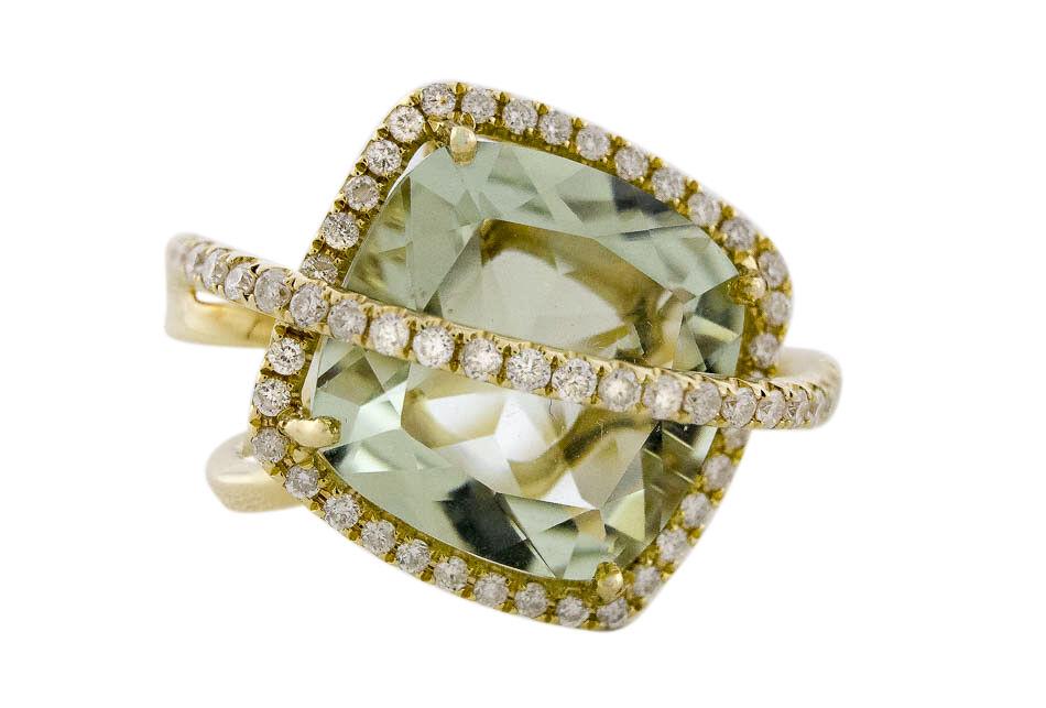 14K Yellow gold Natural Green Amethyst Cushion 7.35 Carats & White Diamonds Ring