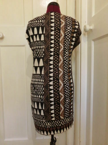 DIANE DIANE DIANE VON FURSTENBERG Tunic Mini Dress 8 10 XS Silk Jersey Tribal Print Small a9d941