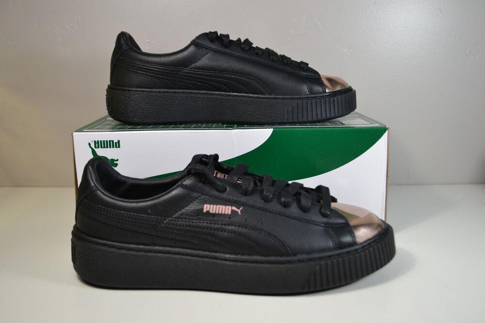 NWT Femme PUMA BASKET PLATFORM noir METALLIC ROSEGOLD SNEAKERS chaussures SZ 10