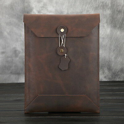 Fashion Korean Style Document File Case Pocket Vintage Leather Business Handbag