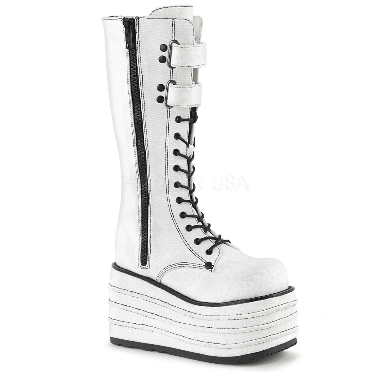 Demonia MORI-310 Women's White Canvas Platform Lace-Up Side Zip Knee High Boots