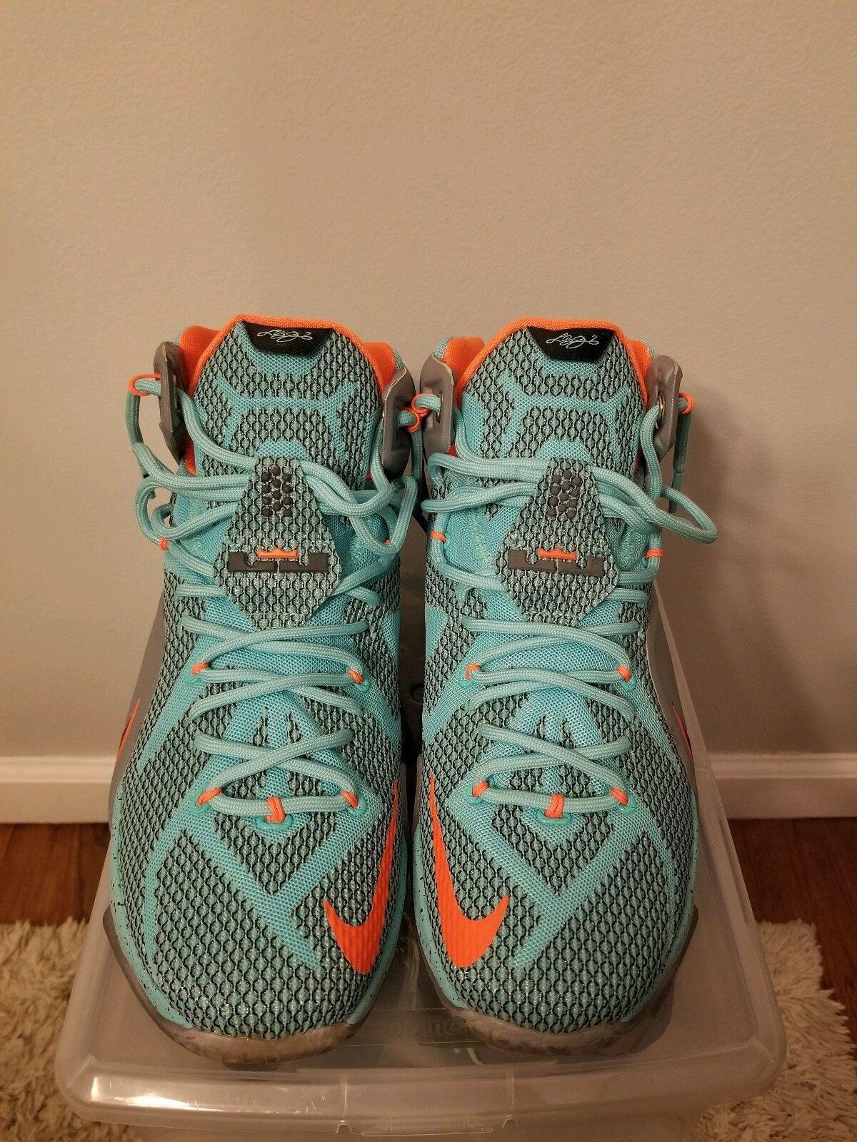 Nike LeBron 12 XII EP NSRL Hyper Turquoise Grey-orange 2014 707781-301 Rare