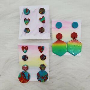 Rainbow Hearts Handmade Polymer Clay Dangle Earrings